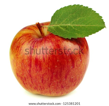 Ripe apple with a leaf isoleted on a white background - stock photo