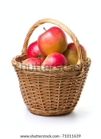 ripe apples in basket on a white background - stock photo