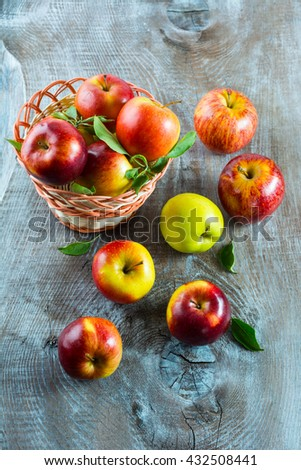 Ripe apples on the wooden table. Fresh fruits. Fresh apples. Healthy food. Healthy eating. Vegetarian food. Healthy eating concept. - stock photo