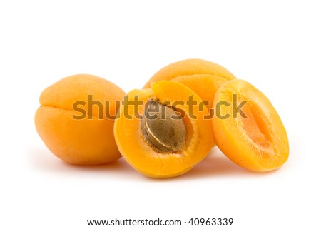Ripe apricots isolated on a white background - stock photo