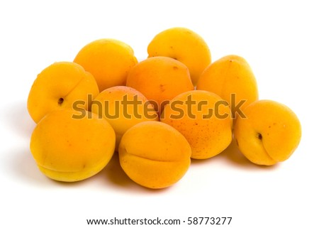 Ripe apricots isolated on a white background