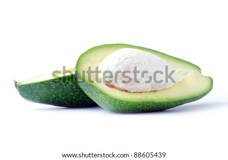 Ripe avocado isolated on a white background