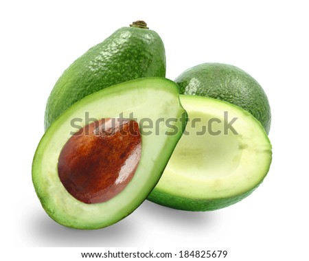 ripe avocado on white background