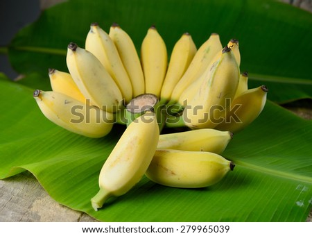 Ripe Banana  on wooden background - stock photo