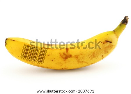 ripe banana with fake bar code - stock photo