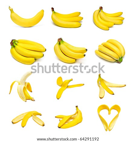 Ripe bananas set isolated on white background - stock photo