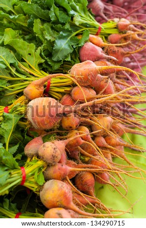 Ripe beets with leaves - stock photo