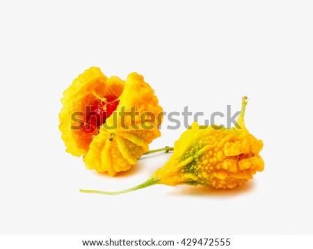 Ripe bitter melon , Bitter gourd on white background - stock photo