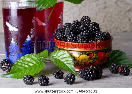 Ripe blackberries and blackberry compote - stock photo