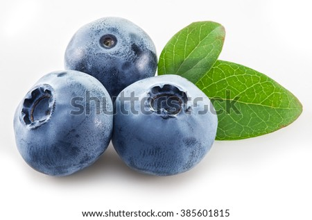 Ripe blueberries on the white background. - stock photo