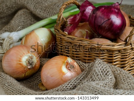 Ripe brown onions in the basket and green onions on the linen bag