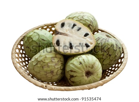 Ripe cherimoya in wicker bowl isolated over white background