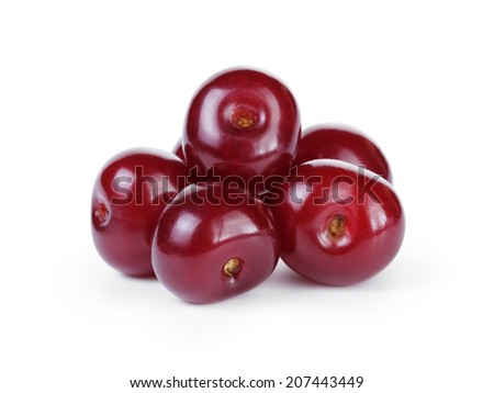 ripe cherries without stems, isolated on white background - stock photo