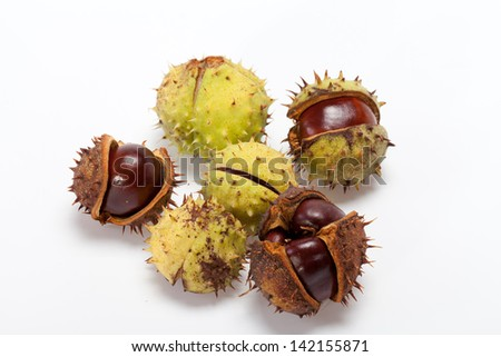 ripe chestnuts isolated on a white background