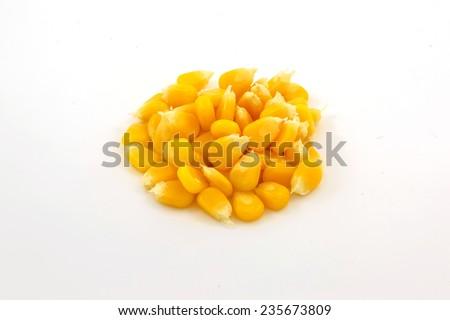 Ripe corn isolated on white background - stock photo