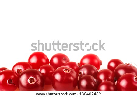 Ripe cranberry on a white background - stock photo