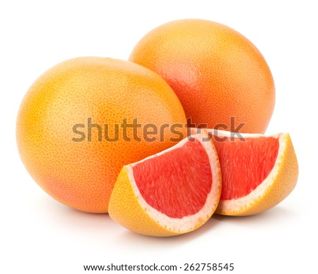 Ripe cut red grapefruit isolated on white background - stock photo