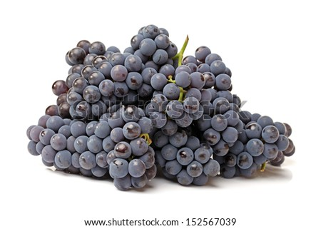 Ripe dark grapes on white background  - stock photo