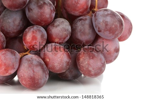 Ripe delicious grapes isolated on white - stock photo