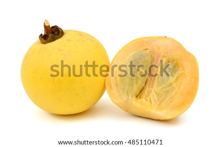 Ripe Diospyros decandra fruit isolated on white background