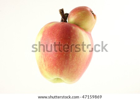 ripe double apple on white background