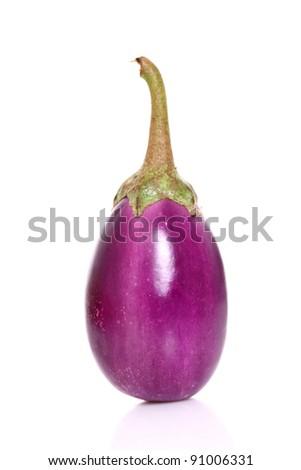 Ripe eggplant isolated on a white background - stock photo