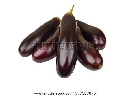 Ripe eggplant vegetable, isolated on white background - stock photo