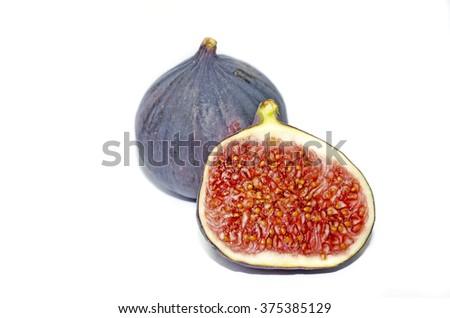 Ripe fig fruits isolated on white background - stock photo