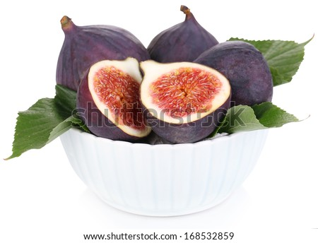 Ripe figs in bowl isolated on white - stock photo