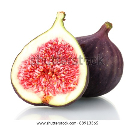 Ripe figs isolated on white - stock photo