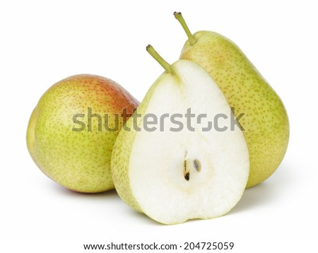 ripe forelle pears, isolated on white background - stock photo