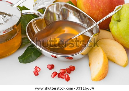 ripe  fresh apple  and honey for Rosh Hashana– jewish new year - stock photo