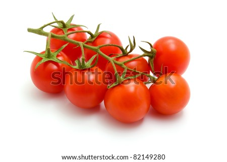 Ripe Fresh Cherry Tomatoes on Branch Isolated on White Background - stock photo