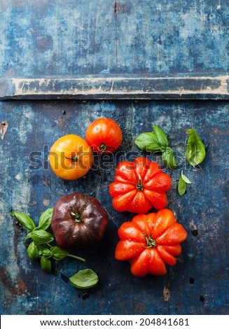 Ripe fresh colorful tomatoes on blue wooden background - stock photo