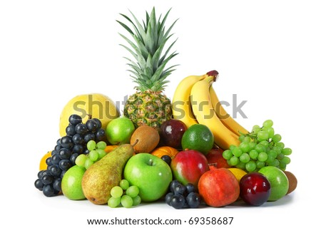 Ripe fresh fruit on white background - stock photo