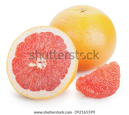 Ripe fresh Grapefruit, half and slice on white background. Clipping Path - stock photo