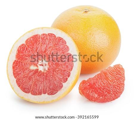 Ripe fresh Grapefruit, half and slice on white background. Clipping Path - stock photo