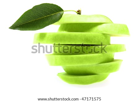 Ripe fresh green apple cut with leaf isolated on white
