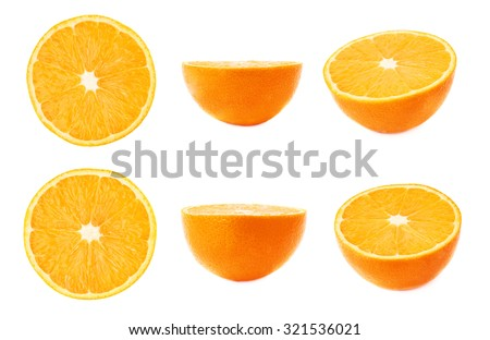 Ripe fresh orange cut in half isolated over the white background, set of different foreshortenings - stock photo