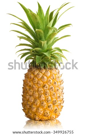 Ripe fresh pineapple with leaves isolated on white - stock photo