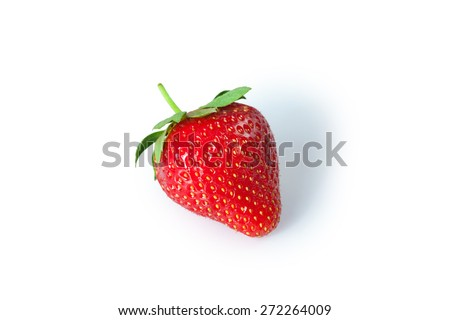 Ripe fresh strawberries were placed on white background - stock photo