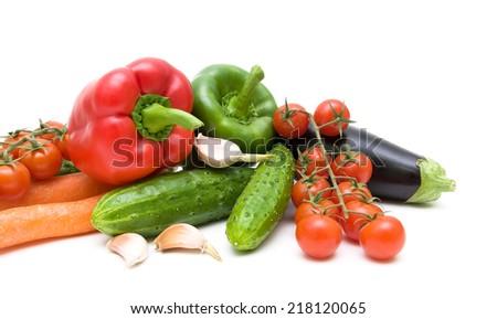 ripe fresh vegetables on white background close-up. horizontal photo. - stock photo