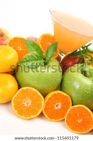Ripe fruit and juice - stock photo