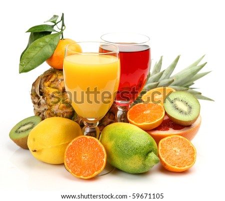 Ripe fruit and juice - stock photo