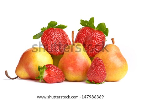 Ripe Fruit, pears and strawberries. - stock photo