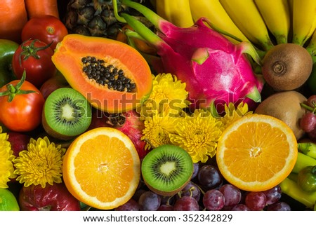 Ripe fruits and vegetables organics for healthy - stock photo