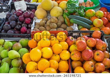 Ripe fruits for sale at a market - stock photo