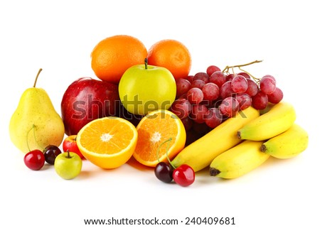 Ripe fruits isolated on white background - stock photo