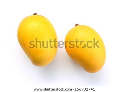 Ripe golden mangoes on white background - stock photo