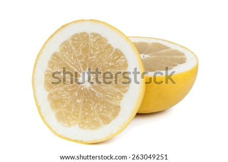 Ripe grapefruits isolated on white background with clipping path - stock photo